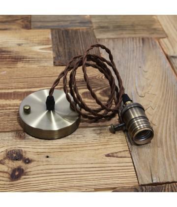 Suspension Douille vieux bronze et cable textile torsade marron - Pour Ampoule a filament Edison