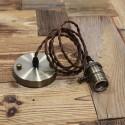 Suspension Douille Cuivre a interrupteur et cable textile - Pour Ampoule a filament Edison