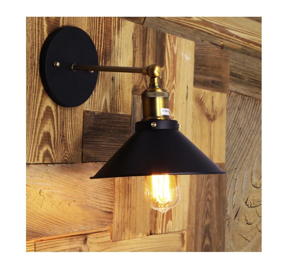 applique laiton avec abat jour acier noir style vintage. Black Bedroom Furniture Sets. Home Design Ideas