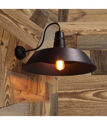 applique grand modele avec abat jour acier noir style vintage industriel. Black Bedroom Furniture Sets. Home Design Ideas