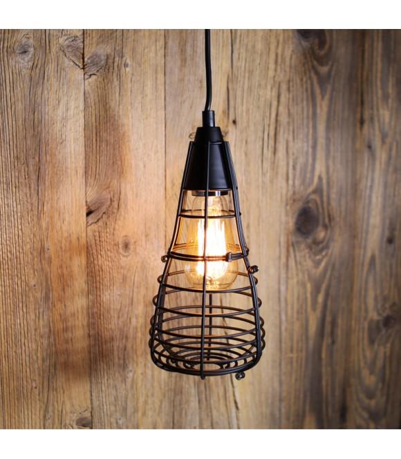 suspension vintage cage ferm e pour ampoule filament. Black Bedroom Furniture Sets. Home Design Ideas
