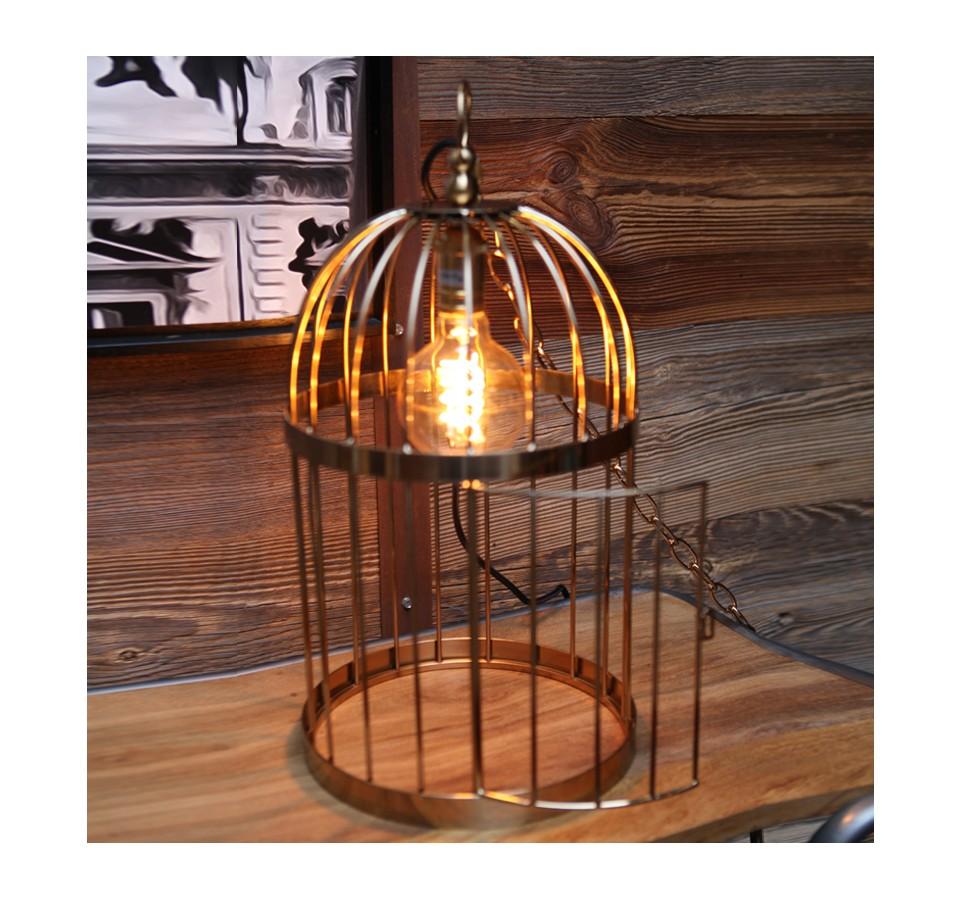 suspension cage a oiseaux style vintage industriel. Black Bedroom Furniture Sets. Home Design Ideas