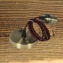 Suspension Douille vieux bronze et cable textile torsade bordeau - Pour Ampoule a filament Edison