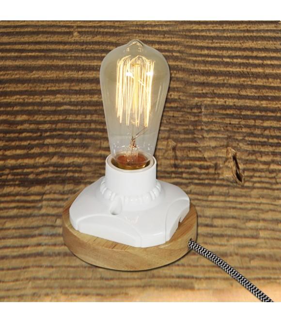 Lampe a poser - socle acier rouille style vintage industriel pour ampoule a filament Edison