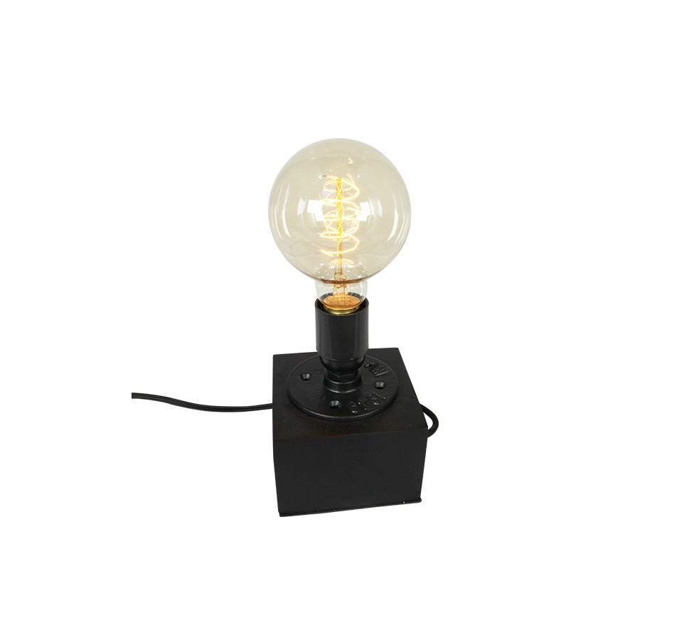 lampe poser acier et bois pour ampoule a filament edison. Black Bedroom Furniture Sets. Home Design Ideas