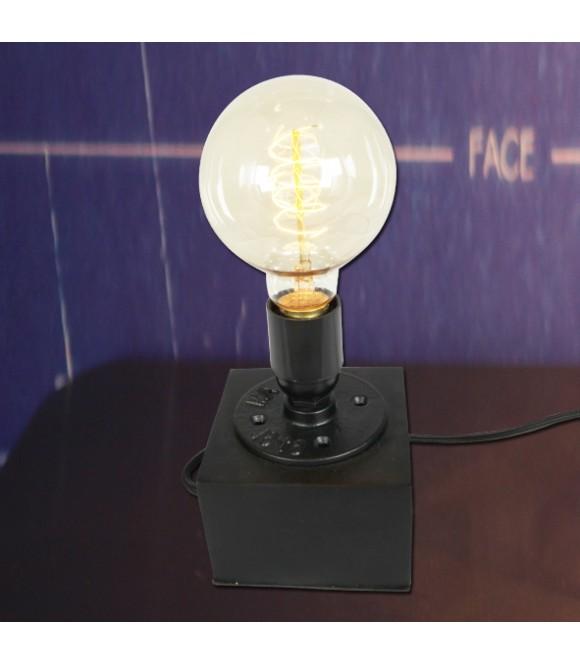Lampe a poser - socle acier sur bois -vintage industriel pour ampoule a filament Edison