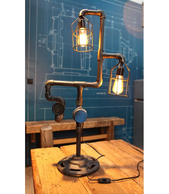 Lampe à poser Tube & Compteur Vintage Industriel
